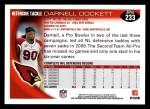 2010 Topps #233  Darnell Dockett  Back Thumbnail