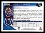 2010 Topps #285  Kevin Thomas  Back Thumbnail