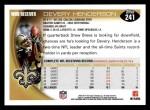 2010 Topps #241  Devery Henderson  Back Thumbnail