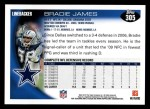 2010 Topps #305  Bradie James  Back Thumbnail