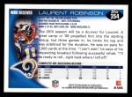 2010 Topps #354  Laurent Robinson  Back Thumbnail