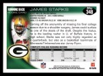 2010 Topps #348  James Starks  Back Thumbnail