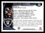 2010 Topps #439   -  Chaz Schilens Raiders Team Back Thumbnail