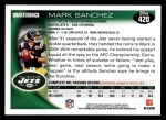 2010 Topps #420  Mark Sanchez  Back Thumbnail