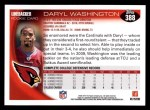 2010 Topps #388  Daryl Washington  Back Thumbnail