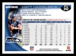 2010 Topps #342  Matt Hasselbeck  Back Thumbnail