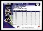 2010 Topps #434  Derrick Mason  Back Thumbnail