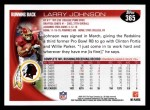 2010 Topps #365  Larry Johnson  Back Thumbnail
