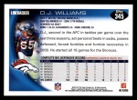 2010 Topps #345  D.J. Williams  Back Thumbnail
