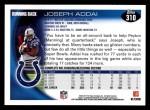 2010 Topps #310  Joseph Addai  Back Thumbnail