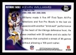 2010 Topps #382  Kevin Williams  Back Thumbnail