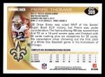 2010 Topps #309  Pierre Thomas  Back Thumbnail