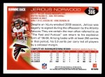 2010 Topps #386  Jerious Norwood  Back Thumbnail