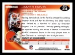 2010 Topps #334  James Davis  Back Thumbnail