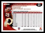 2010 Topps #327  London Fletcher  Back Thumbnail