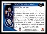 2010 Topps #341  Peyton Manning  Back Thumbnail