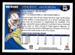 2010 Topps #340  Vincent Jackson  Back Thumbnail