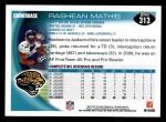 2010 Topps #313  Rashean Mathis  Back Thumbnail