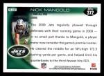 2010 Topps #372  Nick Mangold  Back Thumbnail