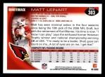 2010 Topps #303  Matt Leinart  Back Thumbnail