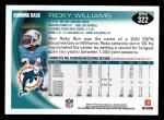 2010 Topps #322  Ricky Williams  Back Thumbnail