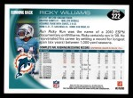 2010 Topps #322  Ricky Williams  Back Thumbnail