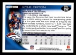 2010 Topps #352  Kyle Orton  Back Thumbnail