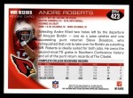 2010 Topps #423  Andre Roberts  Back Thumbnail
