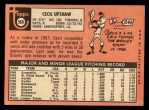 1969 Topps #568  Cecil Upshaw  Back Thumbnail