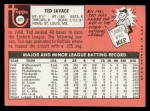 1969 Topps #471 YN Ted Savage  Back Thumbnail