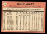 1969 Topps #190  Willie Mays  Back Thumbnail