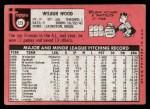1969 Topps #123  Wilbur Wood  Back Thumbnail