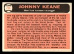 1966 Topps #296  Johnny Keane  Back Thumbnail