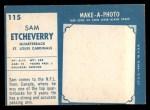 1961 Topps #115  Sam Etcheverry  Back Thumbnail