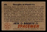 1951 Bowman Jets Rockets and Spacemen #60   Thoughts of Planet Ex Back Thumbnail