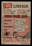 1956 Topps Flags of the World #25   Liberia Back Thumbnail
