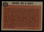1962 Topps #135 GRN  -  Babe Ruth Babe as a Boy Back Thumbnail