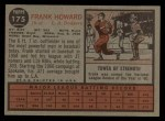 1962 Topps #175 GRN Frank Howard  Back Thumbnail