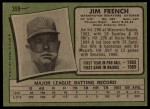 1971 Topps #399  Jim French  Back Thumbnail