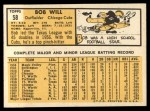 1963 Topps #58  Bob Will  Back Thumbnail