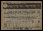 1952 Topps #73  Bill Werle  Back Thumbnail