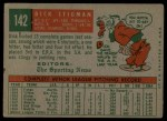 1959 Topps #142  Dick Stigman  Back Thumbnail