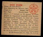 1950 Bowman #191 CPR Dick Starr  Back Thumbnail