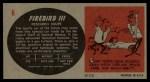 1961 Topps Sports Cars #6   Firebird III Back Thumbnail