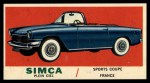 1961 Topps Sports Cars #31   Simca Plein Ciel Front Thumbnail