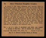 1941 Gum Inc. War Gum #56   Moro Tribesmen Slaughter Invaders Back Thumbnail