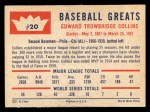 1960 Fleer #20 ^COR^ Eddie Collins  Back Thumbnail