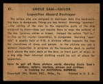 1941 Gum Inc. Uncle Sam Home Defense #81   Inspection Aboard Destroyer Back Thumbnail