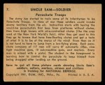 1941 Gum Inc. Uncle Sam Home Defense #7   Parachute Troops Back Thumbnail