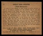 1941 Gum Inc. Uncle Sam Home Defense #11   Field Maneuvers Back Thumbnail
